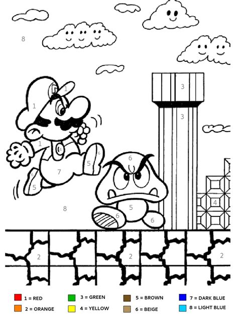 number coloring pages games super mario brothers kids color by number coloring page