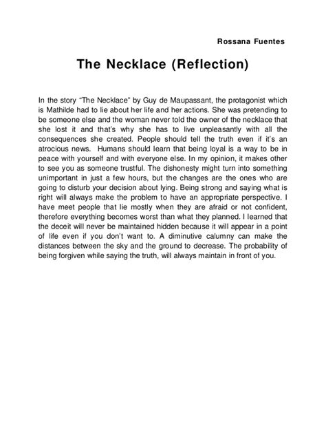 Maupassant The Necklace Essay by The Necklace Reflection
