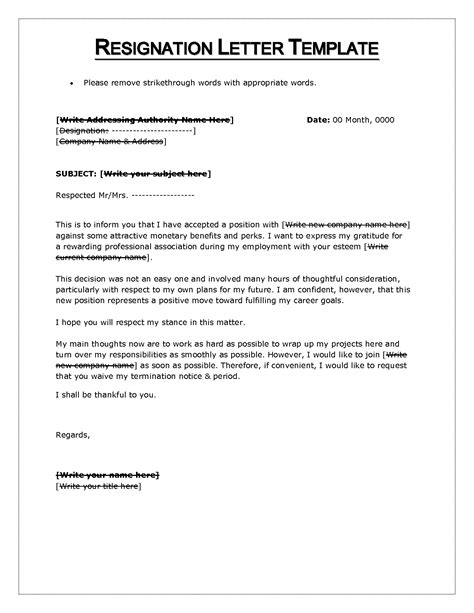 Formal Resignation Letter Template Word Doc Resignation Letter Format Sle Pdf