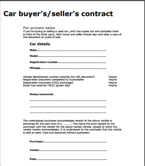 sales agreement template for car used car sale contract template free sle templates