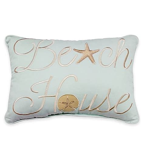 bed bath and beyond decorative pillows sandbridge beach house oblong throw pillow in blue bed