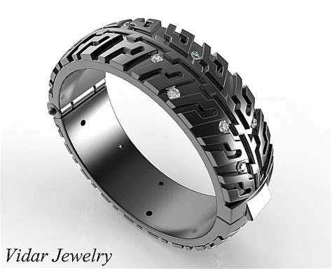 black gold wedding band tire tread diamondsunique wedding