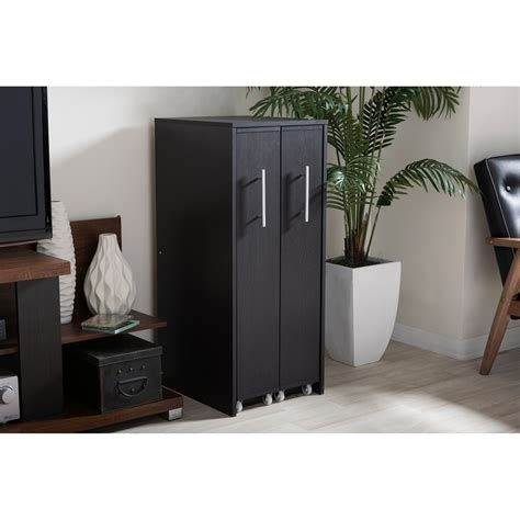 baxton studio lindo bookcase and dual pull out shelving cabinet baxton studio lindo dark brown wood bookcase with two