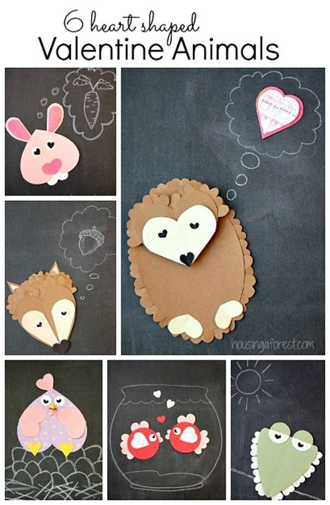 Printable Valentine Animal Crafts | 6 heart shaped animals housing a forest