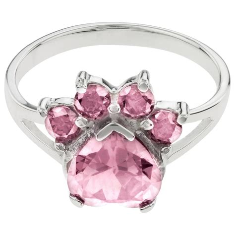 paw ring paw print birthstone sterling ring the animal rescue site