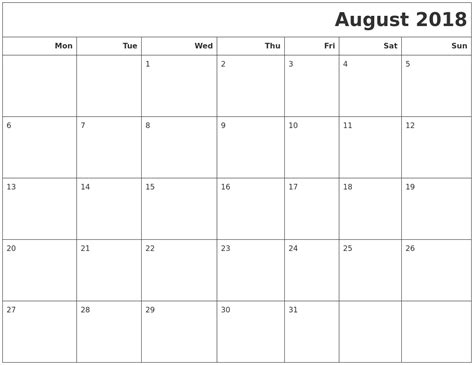 printable monthly calendar starting monday august 2018 calendars to print