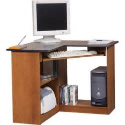 Small Corner Laptop Desk Corner Computer Workstation Oak And Black Walmart