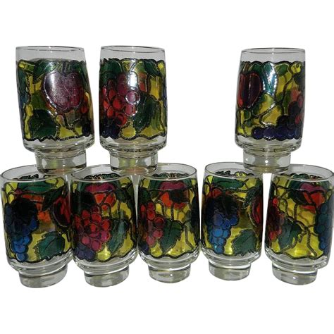 vintage stained glass ls vintage libby stained glass iced tea tumblers in fruit