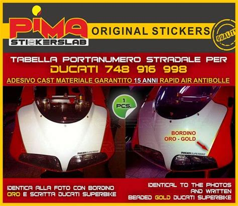 Ducati 916 Sticker by Adesivo Stickers Portanumero Ducati 748 916 998 Di