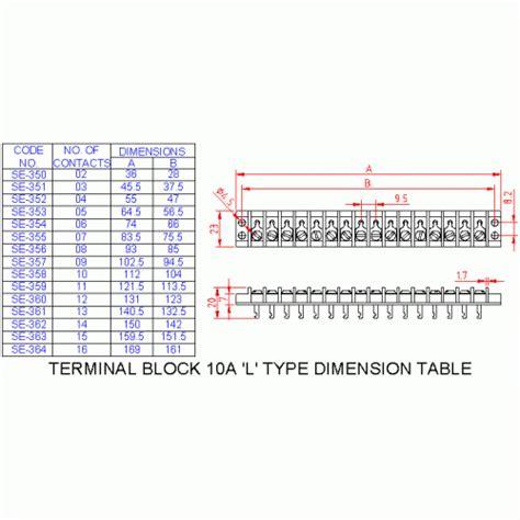 250 ohm resistor terminal block soynia electronics se356 terminal block 10 a quot l quot type 8 way