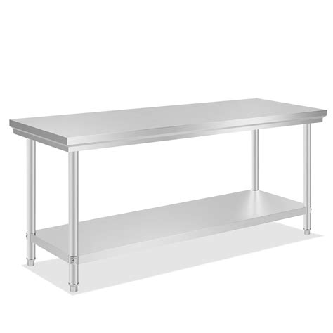 Kitchen Work Table With Shelves Commercial Stainless Steel Work Bench Food Kitchen Catering Table Shelf Ebay