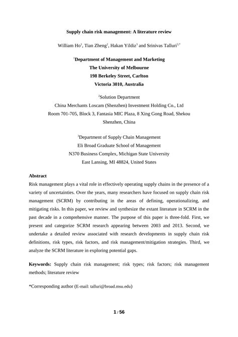 Risk Literature Review by Supply Chain Risk Management A Literature Review