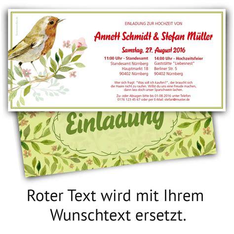 Hochzeitseinladung Vogel by Rotkehlchen Hochzeitskarten Mit Eigenem Text