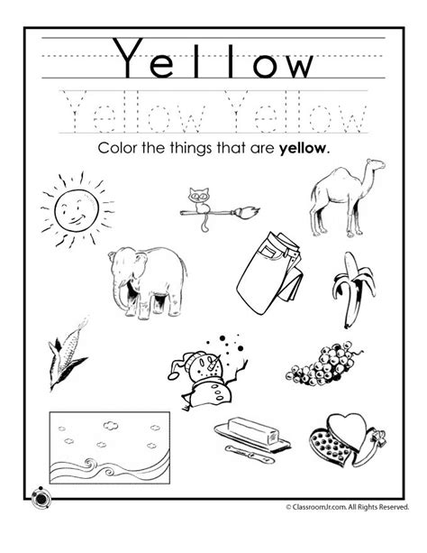 color worksheets free coloring pages of things that are yellow