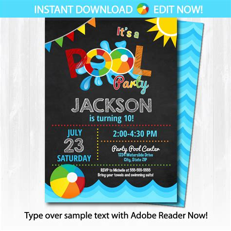 pool invite template pool invitation swimming pool birthday by