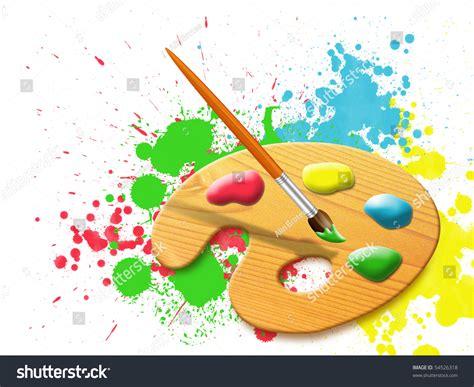 paint images easel paint palette stains paint splashes stock