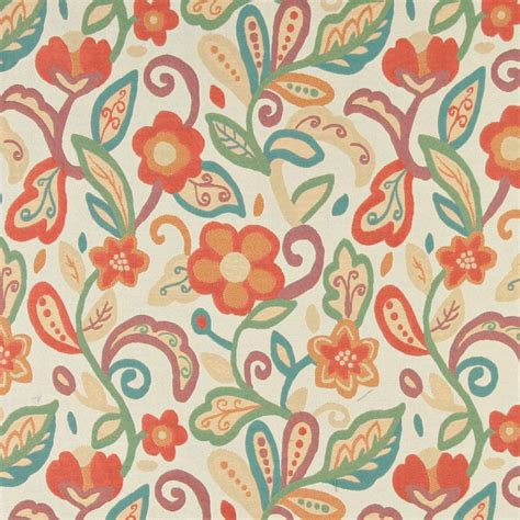 upholstery pattern making teal green orange and beige floral contemporary
