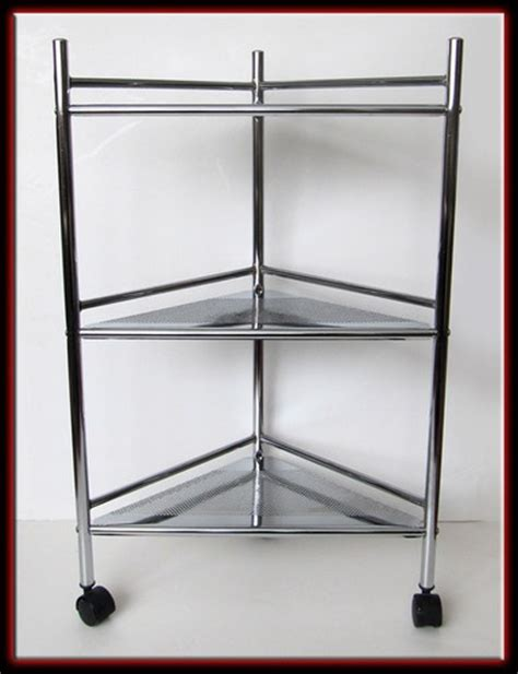 Corner Bar Shelf by Sold Retro 80s Chrome Metal 3 Tier Corner Shelf Bar Cart W Wheels Shelves And