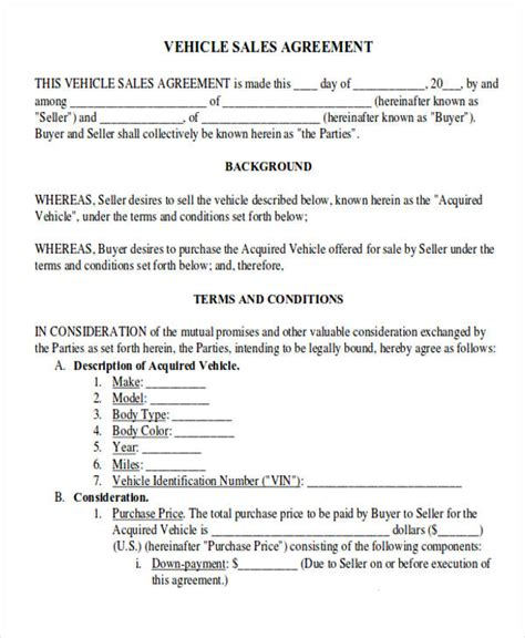 Agreement Letter Car Agreement Letter Formats
