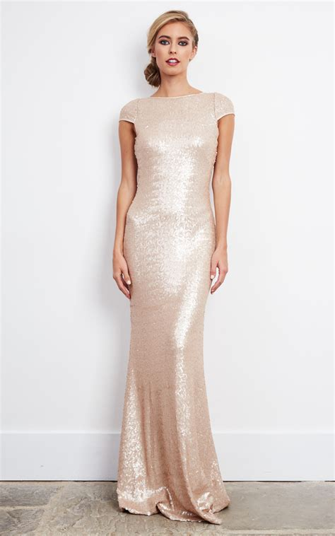 Rose Gold Sequin Embellished Maxi Dress Silkfred