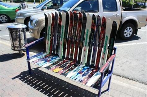 bench made of skis bench made of skis matty whitehead s round the world