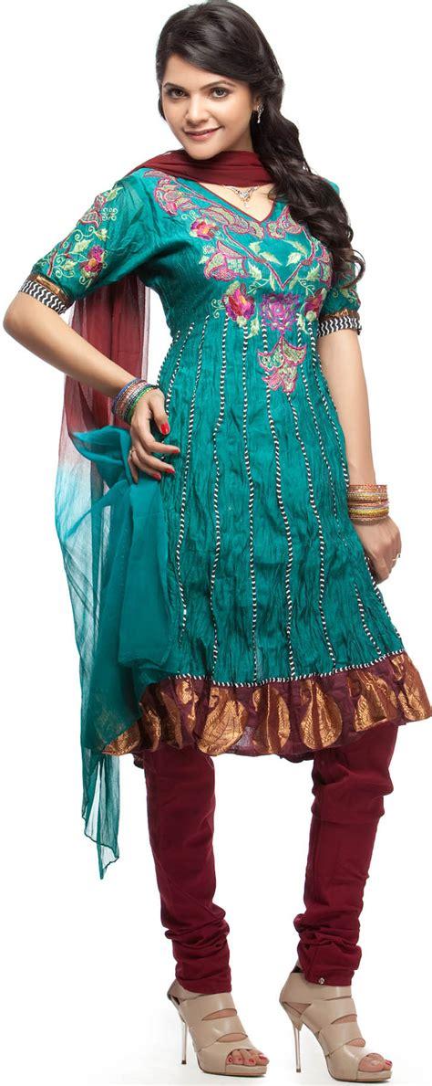 Shalwar Kamaaz Baju India 67 sea green choodidaar salwar kameez suit with parsi embroidery