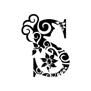 black and white pattern letter flower clipart black alphabet s with white background
