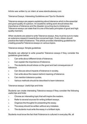 Tolerance Essay by Essay About Tolerance