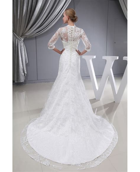 lace sleeves fitted mermaid long wedding dress corset