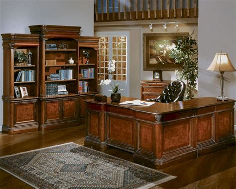 Home Executive Office Furniture Paneled Wood Desk Home Office Furniture Set In Medium Walnut Part 53 Office Furniture Collections