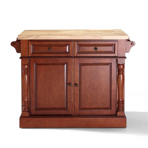 kitchen island lowes shop crosley furniture 48 25 in l x 23 in w x 36 in h classic cherry kitchen island at lowes