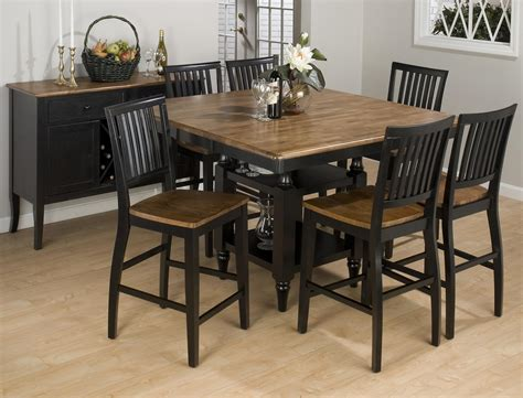 Antique honey vintage black finished square counter height 7 piece dining set ojcommerce