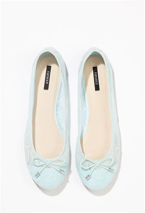 light blue ballet flats forever 21 floral lace ballet flats in blue lyst