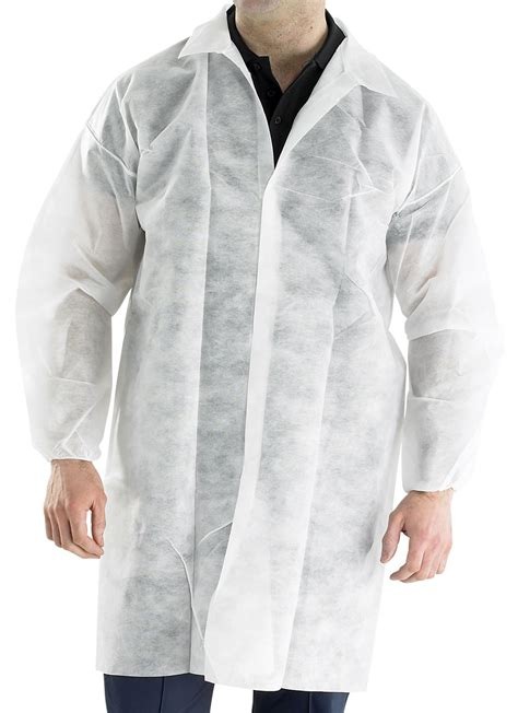 Disposable Coat pdvc polprop disposable visitors coat white beeswift