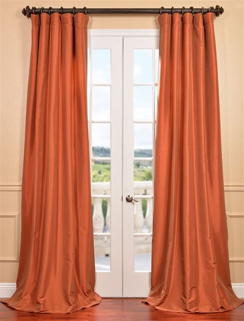 orange faux silk curtains harvest orange faux silk taffeta curtain contemporary