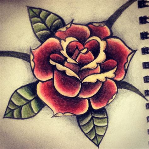tattoo flash rose traditional seeing flash