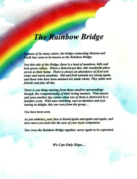 rainbow bridge pet poem printable google search pet poems rainbow bridge poem rainbow bridge