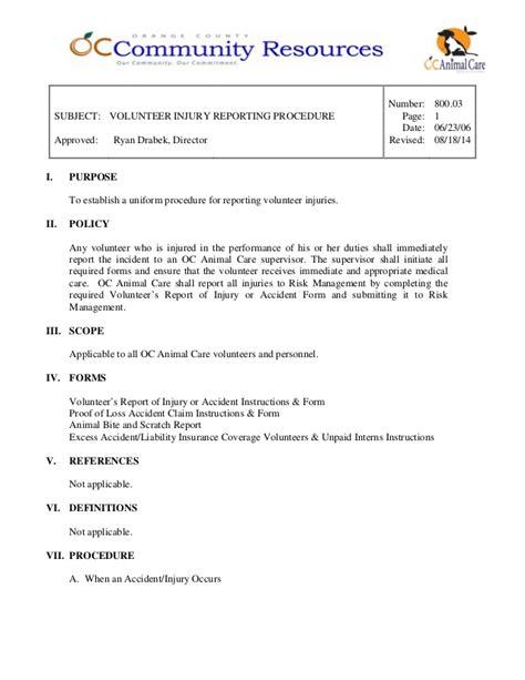 reporting procedure template 800 03 volunteer injury reporting procedure