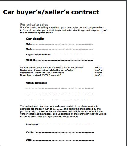 purchase and sales agreement car sample car purchase agreement 6