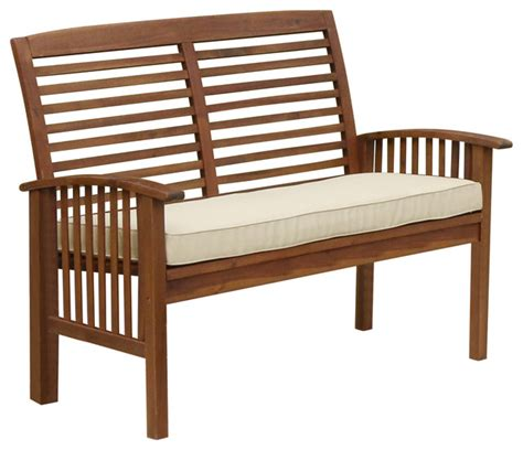 outdoor loveseat bench shop houzz walker edison acacia wood patio loveseat