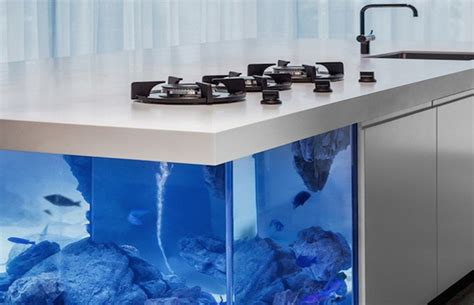 fish tank bench modern kitchen island doubles as spectacular fish tank