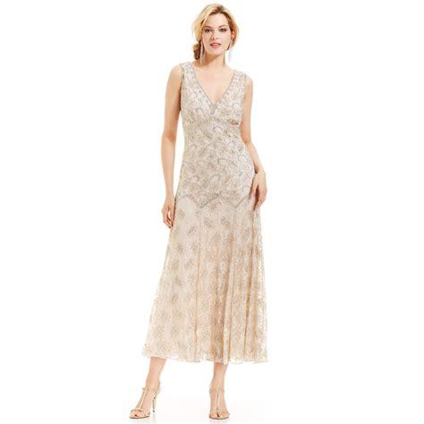 pisarro beaded dress pisarro nights sleeveless beaded lace gown in beige