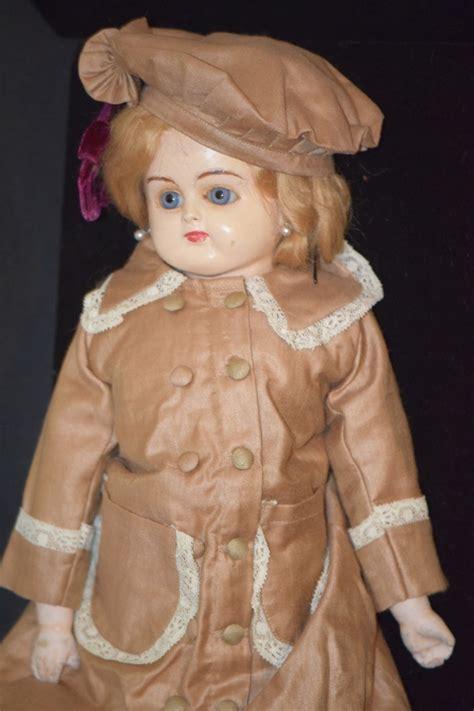 Paper Mache Doll - antique doll papier mache paper glass great clothes