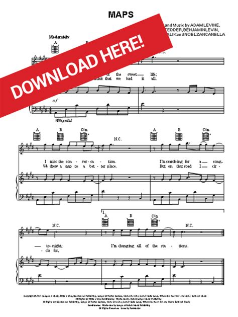 maroon  maps sheet  piano chords guitar tabs