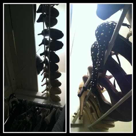 Tension Rod Shoe Rack by Wasted Overhead Closet Space Use Two Tension Rods To Make A Shoe Rack Store Your Out Of Season