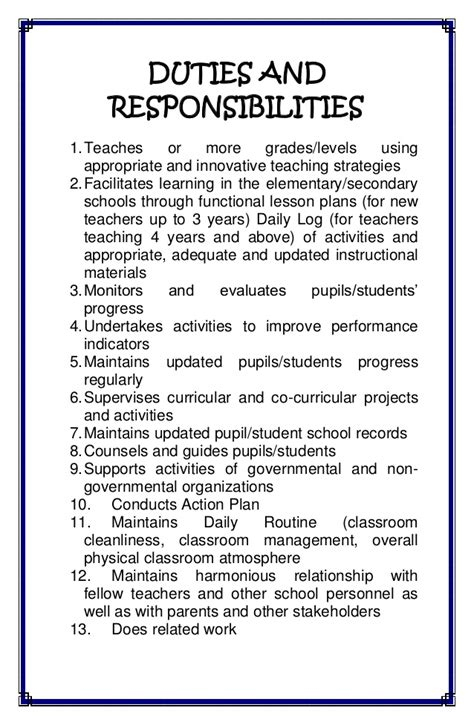 duties and responsibilities of teachers