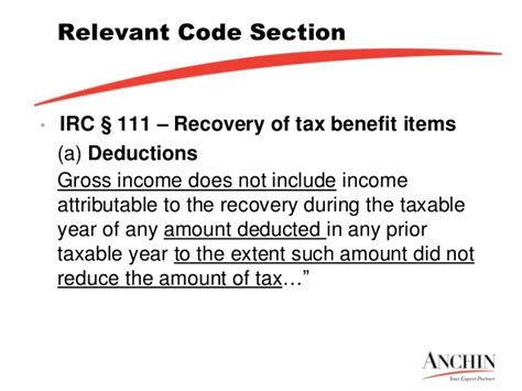 irc section 111 taverna benefitsrevovery amt presentation