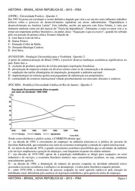História – brasil nova república 02 – 2013 – ifba