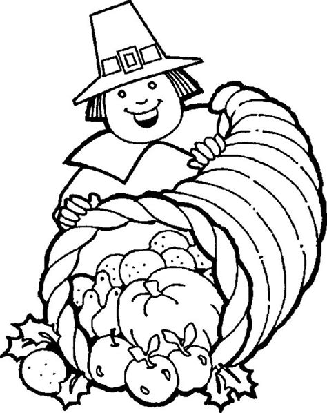 cornucopia basket coloring page child happy thanksgiving coloring page coloring pages