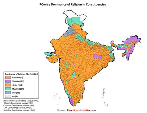 parliamentary constituency wise dominance of religion in